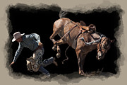 Wild Horses Digital Art Prints - Bronco Busted Print by Daniel Hagerman
