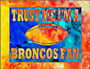 Denver Broncos Mixed Media Posters - Broncos Fan Poster by Michael Knight
