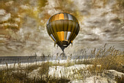 Hot Air Balloon Digital Art Prints - Bronze Beach Ballooning Print by East Coast Barrier Islands Betsy A Cutler