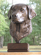 Golden Retriever Sculptures - Bronze dog by Lina Tricocci