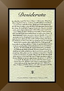 Bronze Frame Original Desiderata Poster Print by Claudette Armstrong