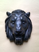Animals Reliefs Posters - Bronze Lion Head - wall ornament Poster by Konstantin Fedorov