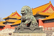 Lioness Posters - Bronze Lioness Forbidden City Beijing Poster by Colin and Linda McKie