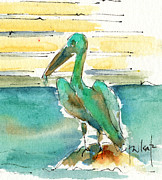 Streetscape Paintings - Bronze Pelican by Pat Katz
