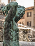 Digital Art Photos Posters - Bronze Satyr in the Statue of Neptune Poster by Melany Sarafis