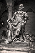Gregory Dyer - Bronze statue of Puccini in Lucca Italy - black and white