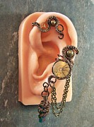 Industrial Jewelry - Bronze Titanium Druzy Crystal Steampunk Ear Cuff/Wrap by Heather Jordan