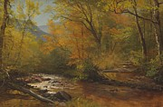 American Landscape Paintings - Brook in woods by Albert Bierstadt