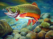 Wet Fly Painting Prints - Brook Trout Breakfast Print by Alvin Hepler