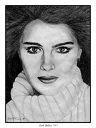 Closeups Drawings Framed Prints - Brooke Shields Framed Print by J McCombie