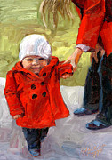 Toddler Portrait Paintings - Brookes Red Jacket by Alice Leggett