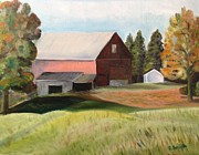 Red Barn. New England Prints - Brookfield Barn Print by Ferol Smith