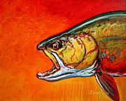 Steelhead Posters - Brookie Portrait  Poster by Mike Savlen