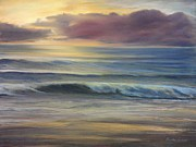 Print On Canvas Pastels Prints - Brookings Beach After The Storm Print by Pamela Heward