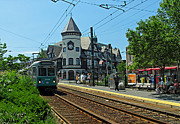 Tram Photos - Brookline Coolidge Corner Pierce Building by Juergen Roth