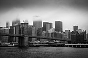 City Buildings Framed Prints - Brooklyn Bridge - Lower Manhattan BW Framed Print by Frank Mari
