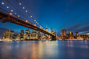 Brooklyn Bridge - Manhattan Skyline Print by Larry Marshall