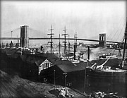 Tall Ships Prints - Brooklyn Bridge 1840 Print by Digital Reproductions