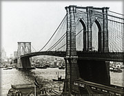 Brooklyn Bridge Posters - Brooklyn Bridge 1900 Poster by Digital Reproductions
