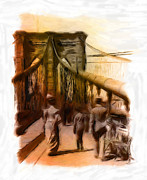 Pastel Drawing Pastels Framed Prints - Brooklyn Bridge 1900 Pastel Framed Print by Stefan Kuhn