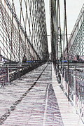 Christiane Schulze Digital Art Posters - Brooklyn Bridge Abstract I Poster by Christiane Schulze