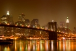 New York City Night Prints - Brooklyn Bridge and Downtown Manhattan Print by Val Black Russian Tourchin