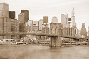 Liberty Island Prints - Brooklyn Bridge and Manhattan vintage Print by RicardMN Photography