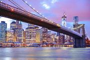 South Street Seaport Photos - Brooklyn Bridge and New York City Skyscrapers by Vivienne Gucwa
