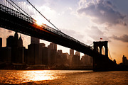 Landmarks Posters - Brooklyn Bridge and Skyline Manhattan New York City Poster by Sabine Jacobs