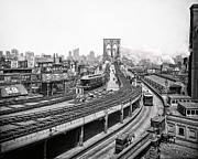 Horse And Buggies Framed Prints - BROOKLYN BRIDGE and TERMINAL - 1903 Framed Print by Daniel Hagerman