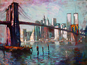 Brooklyn Bridge Painting Posters - Brooklyn Bridge and Twin Towers Poster by Ylli Haruni