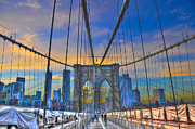 Brooklyn Bridge Posters - Brooklyn Bridge at Dusk Poster by Randy Aveille