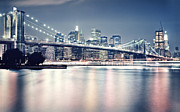New York Photos Posters - Brooklyn Bridge at Night Poster by Sanely Great