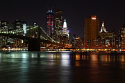 New York City Pyrography Prints - Brooklyn Bridge At Night Print by Paslier Morgan