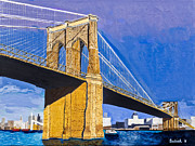 Brooklyn Bridge Prints - Brooklyn Bridge by Stan Bialick Print by Sheldon Kralstein