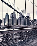 Featured Mixed Media Prints - Brooklyn Bridge Print by CD Kirven