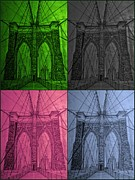 Collage Pastels Framed Prints - Brooklyn Bridge Collage Framed Print by Irving Starr