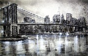Brooklyn Drawings Posters - Brooklyn Bridge drawing Poster by Leland Castro