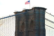 Brooklynbridge Prints - Brooklyn Bridge Flag Print by Keith  Harden