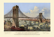 Antique Digital Art Prints - Brooklyn Bridge Print by Gary Grayson