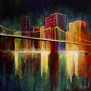 Manhatten Painting Framed Prints - Brooklyn Bridge Framed Print by Gray  Artus