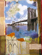 Brooklyn Bridge Mixed Media Framed Prints - Brooklyn Bridge Icon Collage Framed Print by Andrew Sullivan