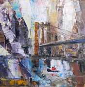 Brooklyn Bridge Painting Originals - Brooklyn Bridge by Michell Givens