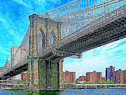 Skylines Digital Art Prints - Brooklyn Bridge New York 20130426 Print by Wingsdomain Art and Photography