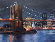 New York State Painting Originals - Brooklyn Bridge New York by Chris Weir