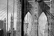 Black-and-white Metal Prints - Brooklyn Bridge New York City USA Metal Print by Sabine Jacobs