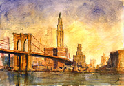 Brooklyn Bridge Painting Originals - Brooklyn bridge New York by Juan  Bosco