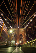 Cities Pyrography Metal Prints - Brooklyn Bridge Metal Print by Nikolas Kolenich