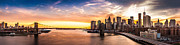 Brooklyn Bridge Panorama At Sunset Print by Mihai Andritoiu