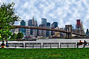 Park Benches Prints - Brooklyn Bridge Park Bench Print by Randy Aveille